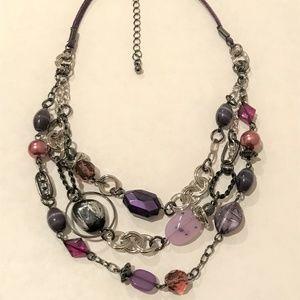 Lia Sophia Multi-Strand Purple Beaded Necklace